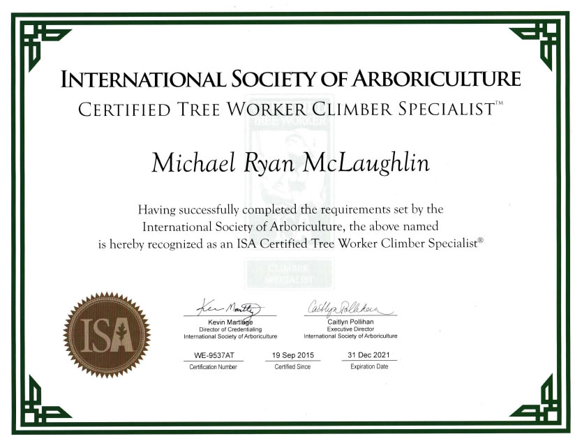 International Society of Arboriculture - Certified Tree Worker Climber Specialist