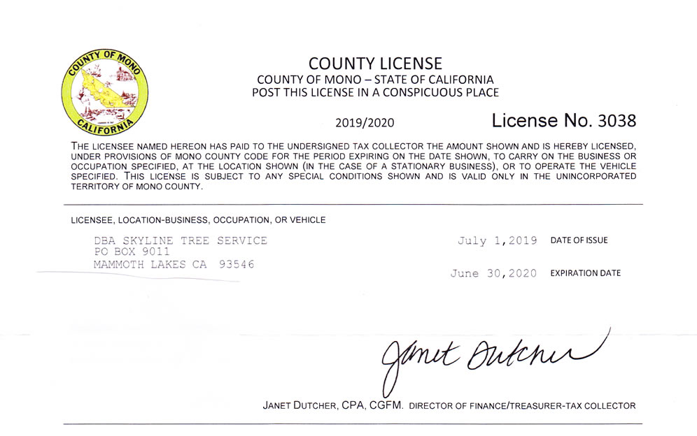 Mono County Business License