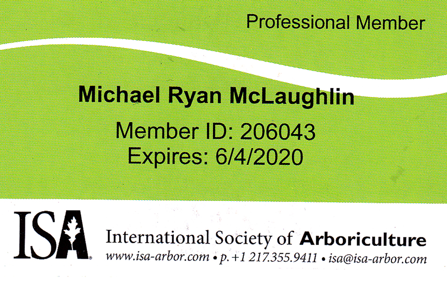 International Society of Arboriculture Professional Member - Michael Ryan McLaughlin
