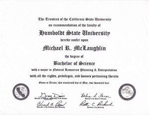 Bachelors Science in Natural Resources Humboldt State University Michael McLaughlin