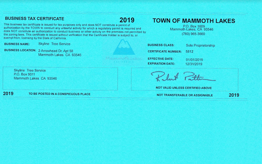 Mammoth Lakes Business Tax Certificate